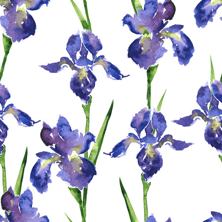 paper art: vector seamless floral pattern with watercolor irises