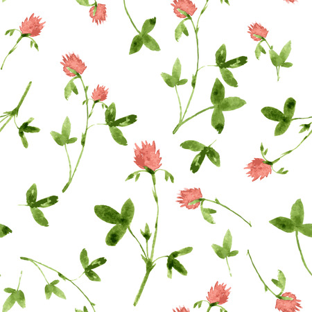 clovers: vector seamless pattern with watercolor clovers, hand drawn vector background