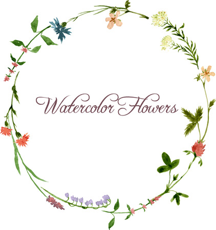 green floral: vector watercolor floral frame with wild flowers, hand drawn vector template