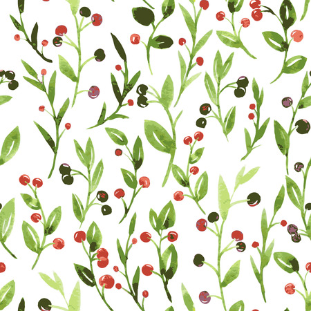 cowberry: vector seamless pattern with watercolor green branches, leaves and berries, hand drawn vector background