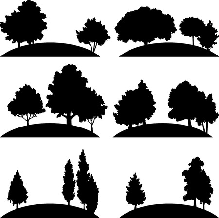 larch: set of different landscapes with deciduous trees, hand drawn vector illustration, hand drawn icons, monochrome emblems