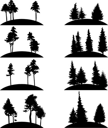 pine trees: set of different landscapes with pine trees and fir-trees, hand drawn vector illustration, hand drawn icons, monochrome emblems