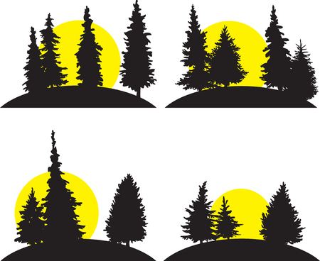 larch: set of different landscapes with fir-trees and rising sun, hand drawn vector illustration, hand drawn icons, monochrome emblems