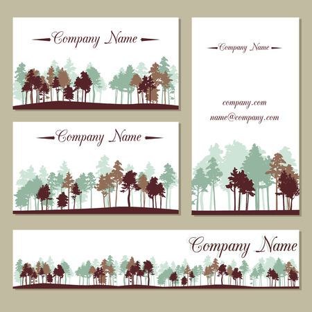Set of templates with pine trees business cards design royalty free set of templates with pine trees business cards design stock vector 38960259 colourmoves