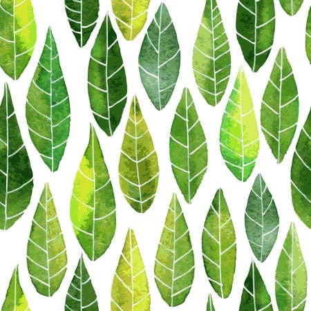 vector seamless pattern with abstract green leaves with streaks drawing by watercolor, hand drawn vector elements Vectores