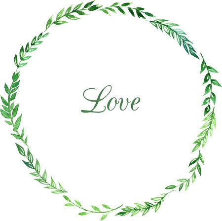 helechos: corona de hojas, ilustraci�n floral con ramas abstractas dibujo de acuarela, tarjetas de felicitaci�n, dibujado a mano vector plantilla Vectores