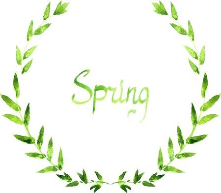 잎의 화환, 수채화로 그리기 추상 분기와 꽃 림, 손으로 그린 벡터 템플릿