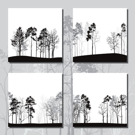 larch: set of different landscapes with pine trees, square templates with winter forest, hand drawn vector illustration