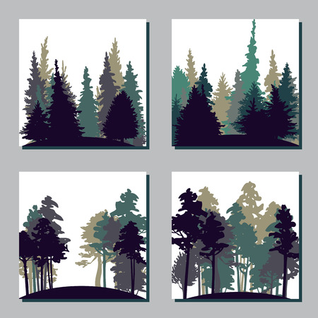set of different landscapes with pine trees and fir-trees, square templates with forest, hand drawn vector illustration Vettoriali