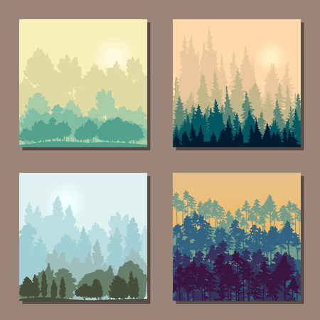 set of different landscapes with trees, square templates with forest and gardens, mountains and hills with thickets, hand drawn vector illustration