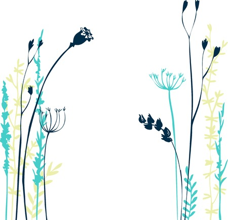 Silhouettes of flowers and grass, hand drawn vector illustration Stock Illustratie
