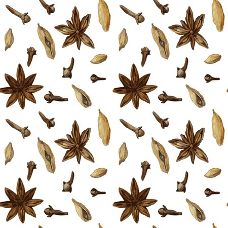 vector seamless pattern with spice, anise,cloves and cardamon, drawing by watercolor, hand drawn vector illustration