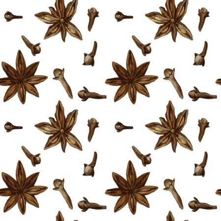 anise: vector seamless pattern with spice, anise and cloves, drawing by watercolor, hand drawn vector illustration Illustration