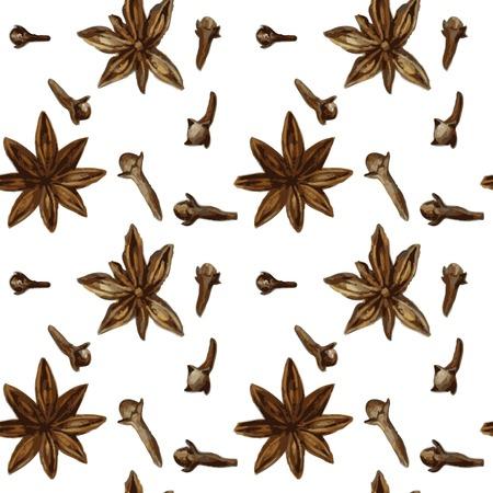Vektor nahtlose Muster mit Gewürzen, Anis und Nelken, Zeichnung von Aquarell, von Hand gezeichnet Vektor-Illustration Vektorgrafik