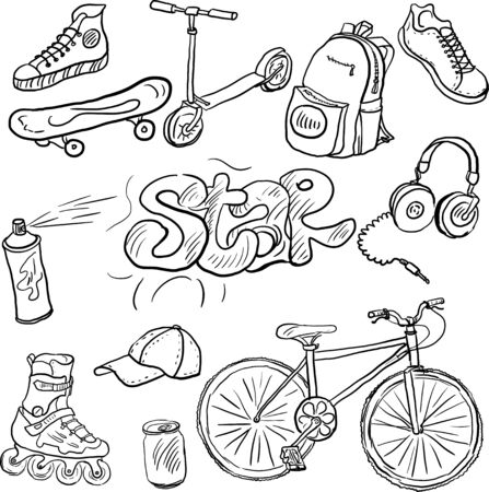activewear: doodle set of teenagers accessories, hand drawn vector illustration