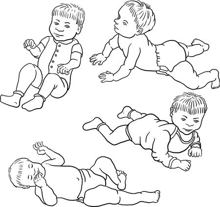 nursling: four sketch of babies, hand drawn vector illustration Illustration