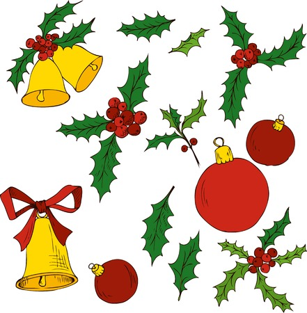 hand bells: vector christmas set of hand drawn design elements, leaves of holly and bells