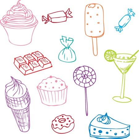 set of sweets, design elements, hand drawn vector illustration