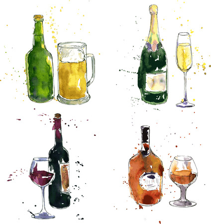 champagne glasses: cognac bottle and cup, wine bottle and glass, champagne bottle and glass, beer bottle and cup, drawing by watercolor and ink, hand drawn vector illustration