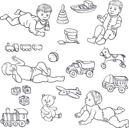 nursling: set of line drawing babies and toys, cars,bear,horce,ball, cubes, hand drawn sketch, vector illustration