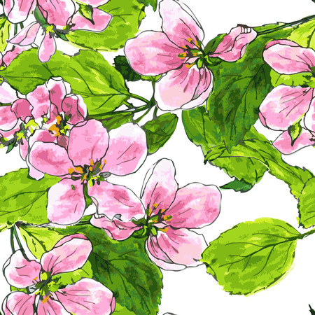 vector seamless pattern with spring flowers of apple tree, pink apple blossoms with green leaves, cherry blossoms, hand drawn vector illustration,art background