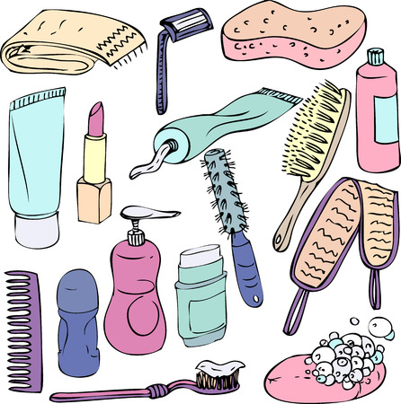 sketch of bathroom objects, hand drawn vector elements Vector