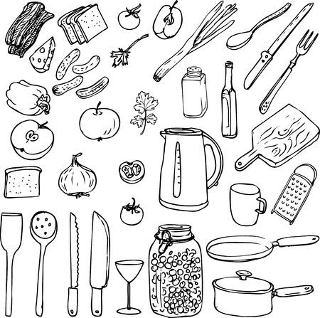 boil: sketch of foods, utensils and kitchen equipment, hand drawn vector illustration Illustration