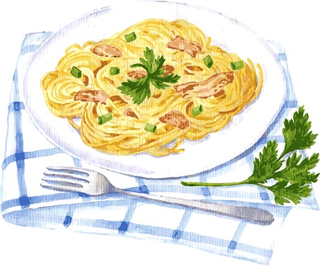 vector illustration of spaghetti carbonara painting by watercolor