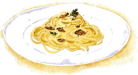 spaghetti: vector illustration of spaghetti carbonara painting by watercolor