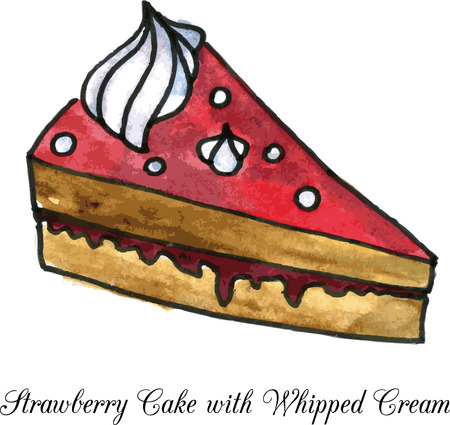 whipped cream: pieces of strawberry cake with whipped cream drawing by watercolor, vector illustration Illustration