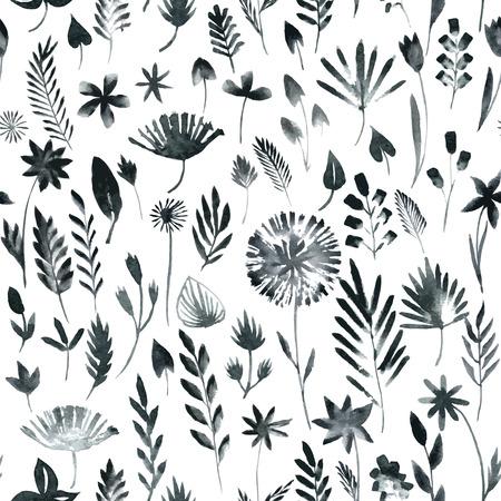 Vector naadloze patroon met silhouetten van bloemen en gras, tekenen met aquarel, met de hand getekende vector illustratie
