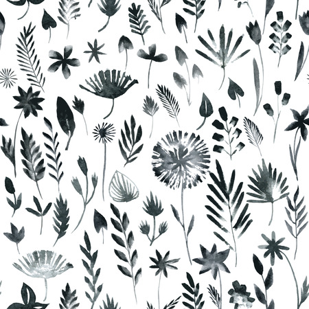 Vector seamless pattern with silhouettes of flowers and grass, drawing by watercolor, hand drawn vector illustration Illusztráció