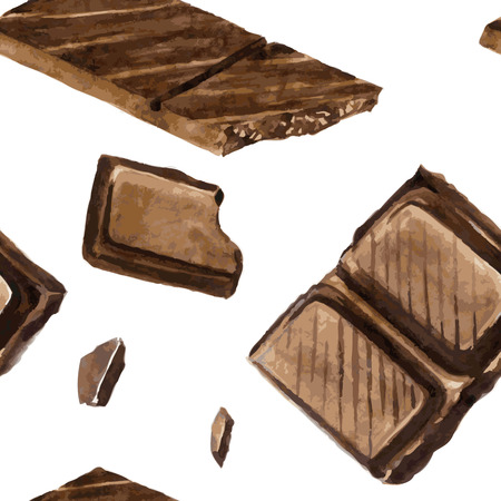 choc: vector seamless pattern with pieces of chocolate drawing by watercolor at white background, hand drawn vector illustration