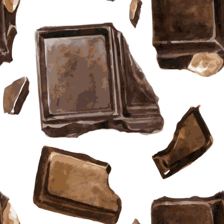 chocolate truffle: vector seamless pattern with pieces of chocolate drawing by watercolor at white background, hand drawn vector illustration