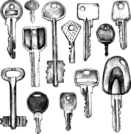 llaves: conjunto de diferentes claves, dibujado a mano ilustraci�n vectorial Vectores