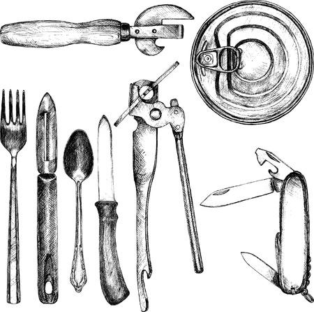 ouvre boite: ensemble de cuisine diff�rente ustensile, cuill�re, fourchette, couteau, couteau �conome, ouvre-bo�tes, couteau pliant, dessin� � la main illustration vectorielle Illustration