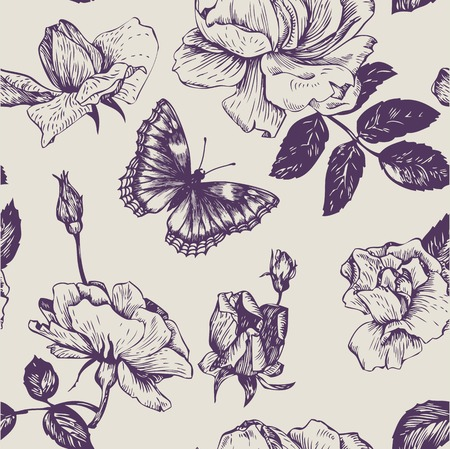 vintage vector seamless floral pattern with roses flowers and butterflies, hand drawn vector illustration