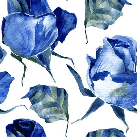 バラと葉を描く水彩画とのシームレスなパターンをベクトル、手描きの背景イラスト