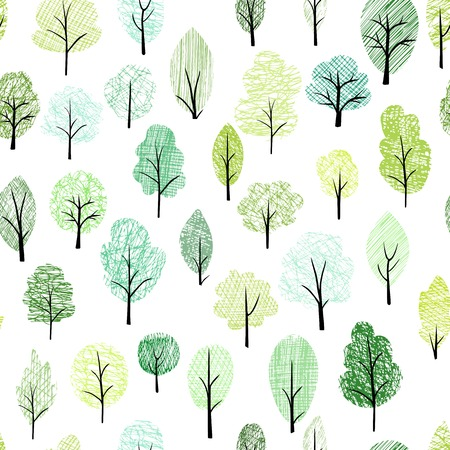 doodle art: seamless pattern with different trees, vector illustration