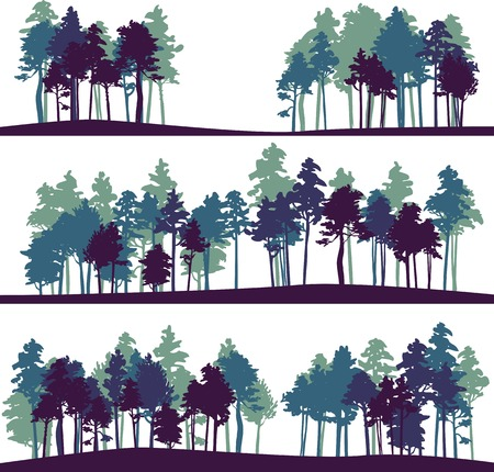 arboleda: conjunto de diferentes siluetas de paisaje con pinos, ilustración vectorial Vectores