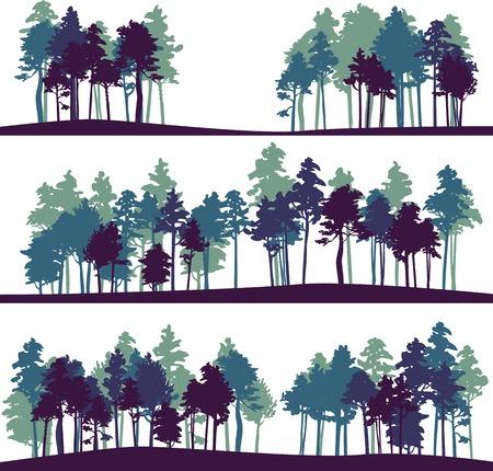 buisson: un ensemble de différentes silhouettes de paysage avec des arbres de pin, illustration vectorielle Illustration