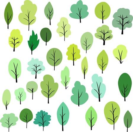 arboles de caricatura: conjunto de árboles diferentes, ilustración vectorial Vectores