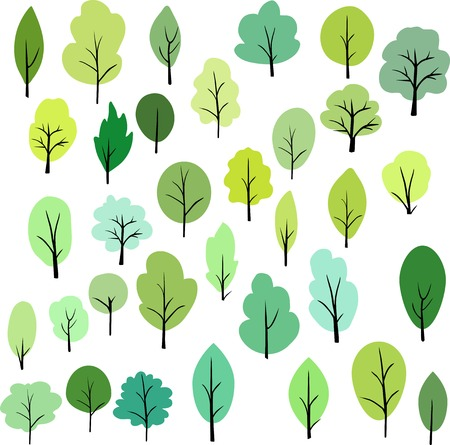 set of different trees, vector illustration Çizim