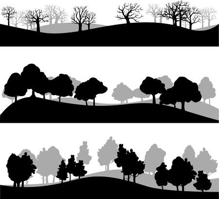 zypresse: Satz von verschiedenen Silhouetten von Landschaft mit B�umen, Vektor-Illustration Illustration