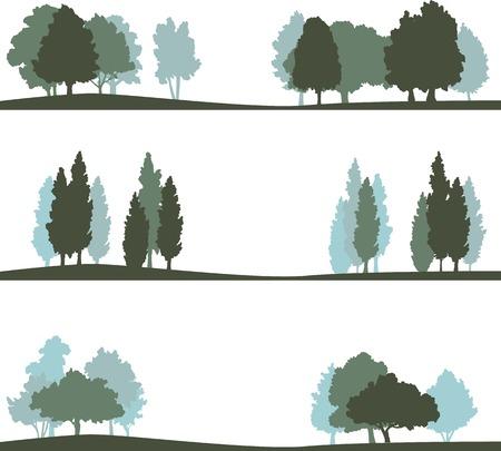 silueta: conjunto de diferentes siluetas de paisaje con árboles, ilustración vectorial