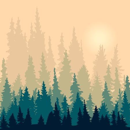 전나무 나무의 실루엣과 풍경, 실루엣 벡터 일러스트 레이 션
