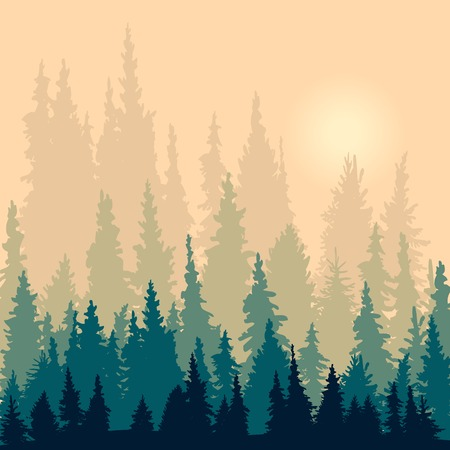 landscape with silhouettes of fir-trees, silhouette vector illustration