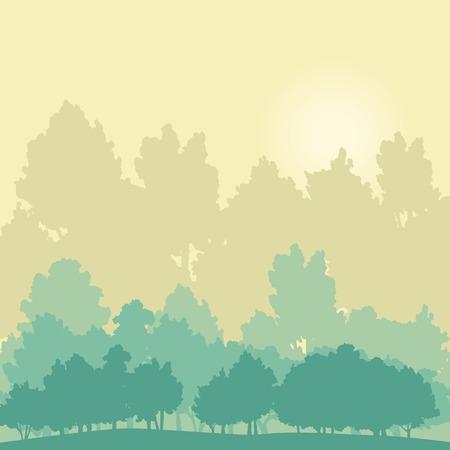 arbol alamo: paisaje con �rboles y el sol, silueta ilustraci�n vectorial