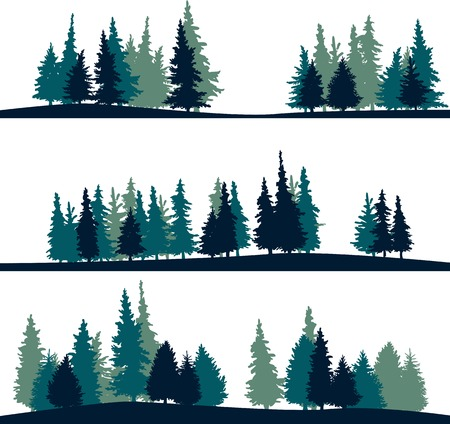 jungle foliage: set of different silhouettes of landscape with fir-trees, vector illustration