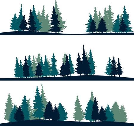 dessin au trait: un ensemble de différentes silhouettes de paysage avec des sapins, illustration vectorielle Illustration